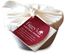 A large wrapped Figgy's Christmas pudding