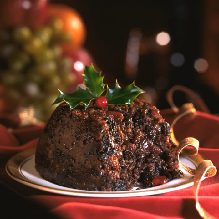 Figgy's Christmas Pudding with ribbon & holly