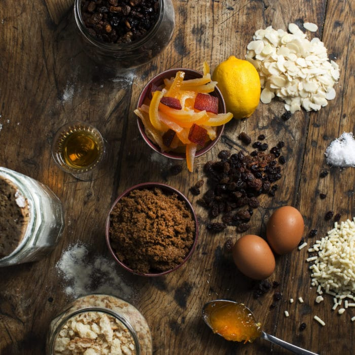Figgy's Luxury Christmas Pudding ingredients on a table