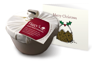 Closeup of a wrapped Figgy's Christmas pudding