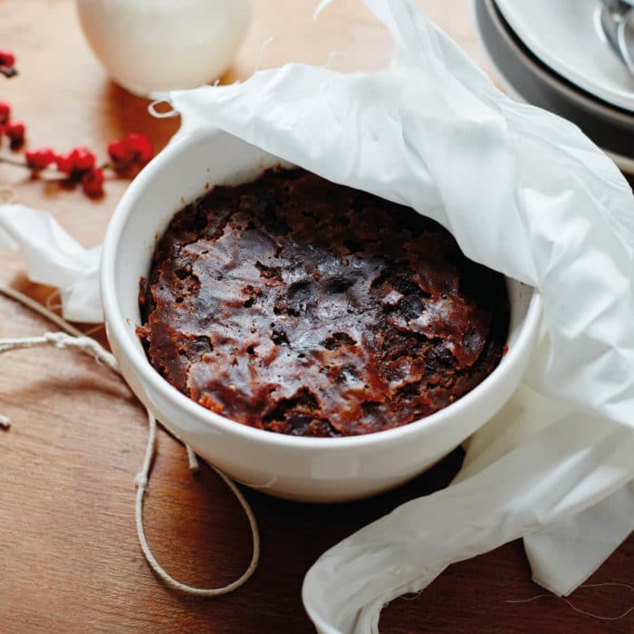 Figgy's Christmas Pudding in a Mason cash pudding bowl with a muslin cloth just steamed