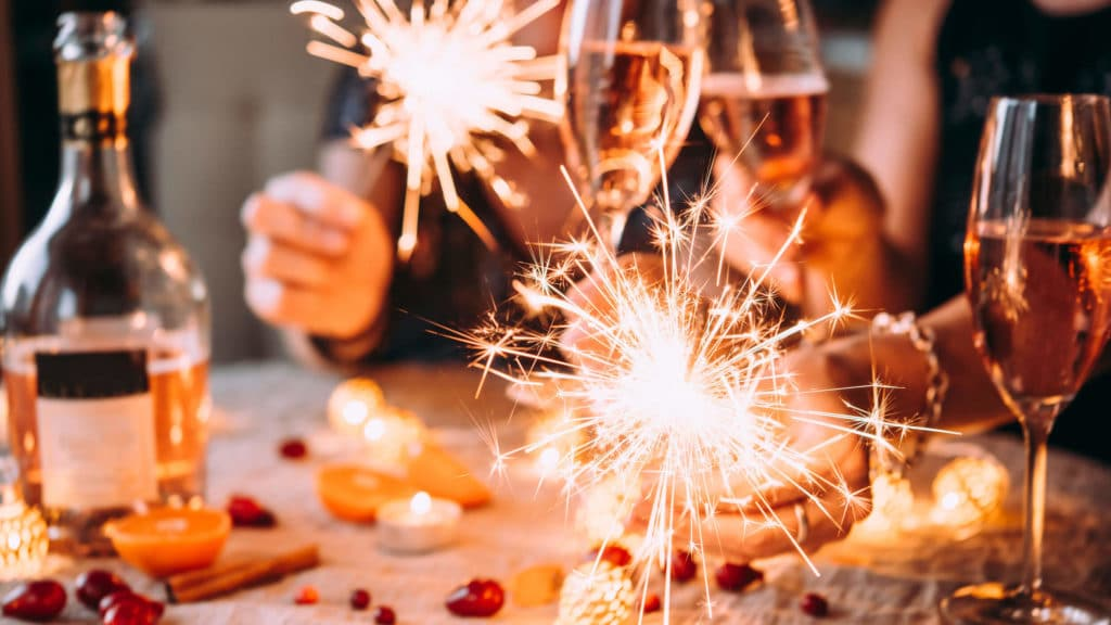 Christmas table with sparklers